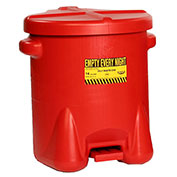 Eagle Poly Waste Can, 14 Gallon, Red with Foot Lever