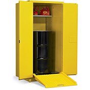 "EAGLE Vertical Drum Cabinet For Flammable Drums - 31x31x65"" - 1 Drum - Manual-Close Doors"