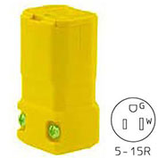 Bryant TECHSPEC® Straight Blade Connector, 15A, 125V, Yellow, 2-Pole, 3-Wire