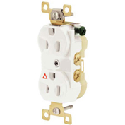 Bryant Commercial Grade Duplex Receptacle, 20A, 125V, White, Side Wired