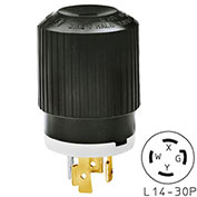 Bryant TECHSPEC® Plug, L14-30, 30A, 125/250V, Black/White