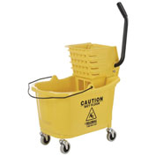 Mop Bucket And Wringer Combo, Yellow, Side Press