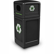 Commercial Zone Square Plastic Recycling Container, 42 Gallon, Black