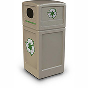 Commercial Zone Square Plastic Recycling Container, 42 Gallon, Beige