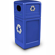 Commercial Zone Square Plastic Recycling Container, 42 Gallon, Blue