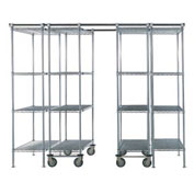 4 Unit SPACE TRAC Storage Shelving, 12 Ft. Long, Chrome, 48x24x74