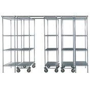 5 Unit SPACE TRAC Storage Shelving, 12 Ft. Long, Chrome, 48x21x86