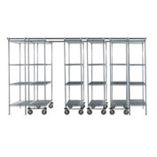 6 Unit SPACE TRAC Storage Shelving, 12 Ft. Long, Chrome, 36x18x86