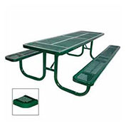 "8' Extra Heavy Duty Picnic Table, Perforated, 96""W x 70""D, Green"