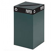 "SAFCO Public Square Steel Recycle Collector - 25-Gallon Capacity - 26""H - Green"