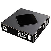 "SAFCO Public Square Lid for Steel Recycle Collectors - Top 8"" Square Cut-Out"