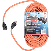 U.S. Wire 50 Ft. Three Conductor Orange Extension Cord, 14/3 Ga. SJTW-A, 300V, 15A