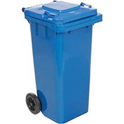 Mobile Trash Can with Hinged Lid, 32 Gallon, Blue