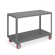 "LITTLE GIANT Two-Shelf Mobile Tables - 60""Wx24""D Shelves"