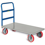 """LITTLE GIANT Fully Assembled Platform Truck with Wheel Brakes - 8"""" Polyurethane Casters"""