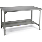 "LITTLE GIANT 5000-Lb. Cap. Workbench - 84x36"" Steel Top - 500-Lb. Cap. Lower Shelf - Fixed"