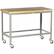 "LITTLE GIANT 1000-Lb. Capacity Mobile Workbench - 1-3/4"" Thick, 24x24"" Hardwood Top - Lower Shelf"