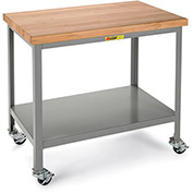 "LITTLE GIANT 1000-Lb. Capacity Mobile Workbench - 1-3/4"" Thick, 60x30"" Hardwood Top - Lower Shelf"