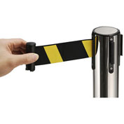 """39""""H Stainless Steel Retractable Stanchion With 6-1/2' Yellow/Black Belt"""