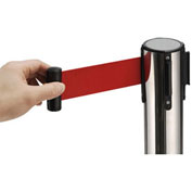 """39""""H Stainless Steel Retractable Stanchion With 6-1/2' Red Belt"""