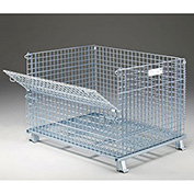 "Nashville Wire Folding Wire Container, 48x40x36-1/2, 3000-4000 Lb Cap., Drop Gate 48"" Side"