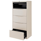 "30""W Premium Lateral File Cabinet, 5 Drawer, Putty"