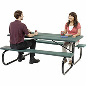"72"" Picnic Table, Plastic, Green Top With Black Frame"