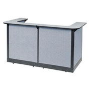 "88""W x 44""D x 46""H U-Shaped Reception Station With Raceway, Gray Counter/Blue Panel"