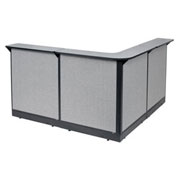 "80""W x 80""D x 46""H L-Shaped Reception Station With Raceway, Gray Counter/Gray Panel"