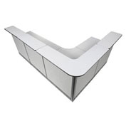 "116""W x 80""D x 46""H L-Shaped Reception Station With Raceway, Gray Counter/Gray Panel"