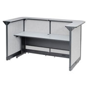 "88""W x 44""D x 46""H U-Shaped Reception Station With Raceway, Gray Counter/Gray Panel"