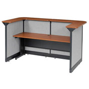 "88""W x 44""D x 46""H U-Shaped Reception Station With Raceway, Cherry Counter/Gray Panel"