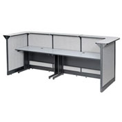 """124""""W x 44""""D x 46""""H U-Shaped Reception Station With Raceway, Gray Counter/Gray Panel"""