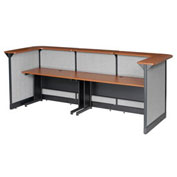 "124""W x 44""D x 46""H U-Shaped Reception Station With Raceway, Cherry Counter/Gray Panel"