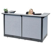 "88""W x 44""D x 46""H U-Shaped Electric Reception Station, Gray Counter/Blue Panel"