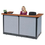 "88""W x 44""D x 46""H U-Shaped Electric Reception Station, Cherry Counter/Blue Panel"