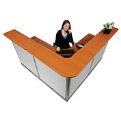 """80""""W x 80""""D x 46""""H L-Shaped Electric Reception Station, Cherry Counter/Gray Panel"""