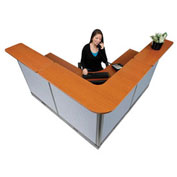"""80""""W x 80""""D x 46""""H L-Shaped Electric Reception Station, Cherry Counter/Blue Panel"""