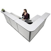 "116""W x 80""D x 46""H L-Shaped Electric Reception Station, Gray Counter/Gray Panel"