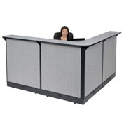 "80""W x 80""D x 46""H L-Shaped Electric Reception Station, Gray Counter/Gray Panel"