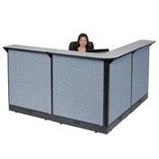 "80""W x 80""D x 46""H L-Shaped Electric Reception Station, Gray Counter/Blue Panel"
