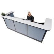 "124""W x 44""D x 46""H U-Shaped Electric Reception Station, Gray Counter/Blue Panel"