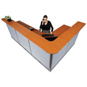 """116""""W x 80""""D x 46""""H L-ShapedElectric Reception Station, Cherry Counter/Blue Panel"""