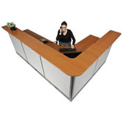 "116""W x 80""D x 46""H L-Shaped Electric Reception Station, Cherry Counter/Gray Panel"