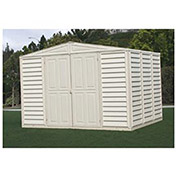 "WoodBridge Vinyl Outdoor Storage Shed w/Foundation, 10'5""W X 7'10""D X 7'1""H"