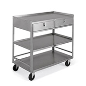 "LAKESIDE Stainless Steel Mobile Tables - 36""Wx20""D Shelf - 3 Shelves - 20-Gauge - 2 Drawers"