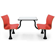 "OFM Bench-Style Cafeteria Seating - 24x48"" - 4-Person Center-Style Unit - Red Seats"