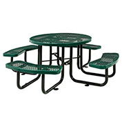 "46"" Expanded Metal Round Picnic Table, Green"