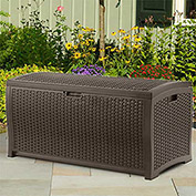 Suncast® Wicker Deck Box, Java, 73 Gallon