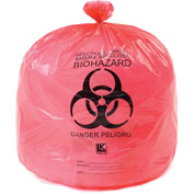 "High-Density Red Infectious Waste Liners, 15 Gallon, 24""W x 30""L, 500/Case"
